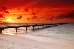 Sunset And Jetty Royalty Free Stock Photography