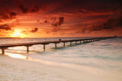 Sunset And Jetty Royalty Free Stock Photos