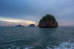 Sunset in Andaman sea with islands in Krabi, Thailand Stock Image
