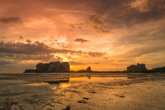 Sunset on Andaman Sea Islands Stock Images