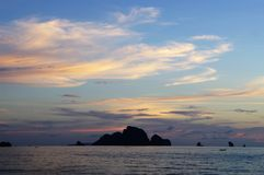 Sunset on Andaman sea, view from Ao Nang beach, Thailand. Royalty Free Stock Images