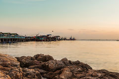 Sunset on ang sila fishing village Royalty Free Stock Images