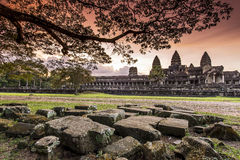 Sunset at Angkor Wat Royalty Free Stock Images