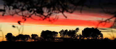 Sunset in Aniane,France. Sunset in Aniane , Languedoc-Roussillon region in southern France Stock Image