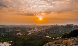 Sunset from Anjanadri hills over looking mythological Kishkindha. Kishkindha (kannada: ಕಿಶ್ಕಿನ್ದಾ, IAST: Kiṣkindhā, Devanagari royalty free stock photography