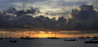 Sunset in the anses d'Arlet, la Martinique Stock Photos