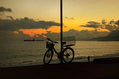 Sunset in Antalya. Beautiful sunset in Mediterranean Stock Images