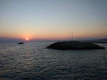 Sunset in Antalya Manavgat Side Beach. Europa Royalty Free Stock Photo