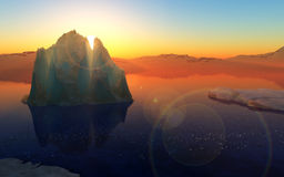Sunset in Antarctica. Summer sunset in Antarctica. Beautiful winter background royalty free illustration