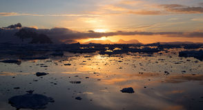 Sunset in Antarctica Royalty Free Stock Photo