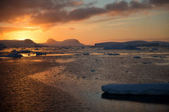 Sunset in Antarctica Royalty Free Stock Photos