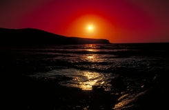Sunset in Antiparos. Sisneikos royalty free stock photo