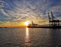 Sunset. At Antwerp Royalty Free Stock Images