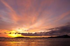 Sunset at Ao Nang bay, Thailand Royalty Free Stock Photography