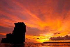 Sunset at Ao Nang bay, Thailand Royalty Free Stock Images