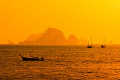 Sunset from Ao Nang beach Krabi, Thailand Royalty Free Stock Photography