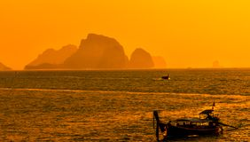 Sunset from Ao Nang beach Krabi, Thailand stock images