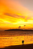 Sunset at Ao Nang beach, south of Thailand Stock Photo