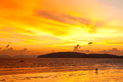 Sunset at Ao Nang beach, south of Thailand Royalty Free Stock Image