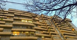 Sunset, apartment building. Last Days of winter. royalty free stock images