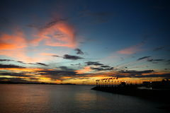 Sunset of Apia, Samoa, South Pacific stock image