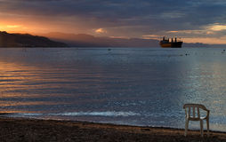 Sunset in the Aqaba gulf, Eilat, Israel Royalty Free Stock Photography