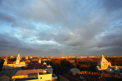 Sunset in Arad. Sunset colors over Arad, Romania Royalty Free Stock Images