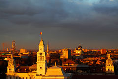Sunset in Arad. Sunset colors over Arad, Romania Royalty Free Stock Photo