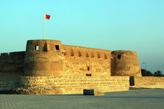 Sunset and Arad fort. Sunset and walls of fort Arad in Manama city, Bahrein Stock Photography