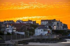 Sunset at the Arcadia. Orange sunset at the Arcadia Portrush Northern Ireland Royalty Free Stock Image
