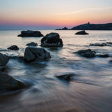 Sunset at Arche de Port Blanc in Saint-Pierre-Quiberon. Brittany, France Stock Images