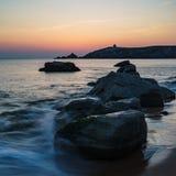 Sunset at Arche de Port Blanc in Saint-Pierre-Quiberon. Brittany, France Stock Photos