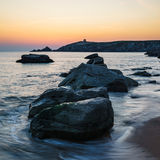 Sunset at Arche de Port Blanc in Saint-Pierre-Quiberon. Brittany, France Royalty Free Stock Images