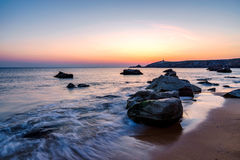 Sunset at Arche de Port Blanc in Saint-Pierre-Quiberon. Brittany, France Stock Photography