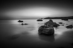 Sunset at Arche de Port Blanc in Saint-Pierre-Quiberon. Brittany, France Royalty Free Stock Image