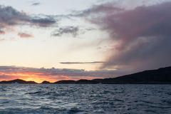 Sunset at arctic coast Stock Photography