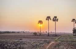 Sunset on Area behind Kiling Fields, Phnom Penh, Cambodia. Sunset on Area behind Kiling Fields. The Killing Fields are a number of sites in Cambodia where Stock Photo