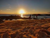Sunset, Areia. Praia Porto da Barra , Salvador Bahia Brasil stock photography