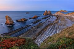 Arnia Beach, Cantabria, Spain. Sunset at Arnia Beach, Cantabria, Spain stock images