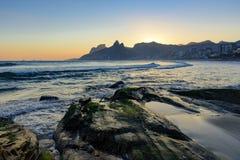 Sunset at Arpoador beach, Ipanema, Rio de Janeiro royalty free stock images