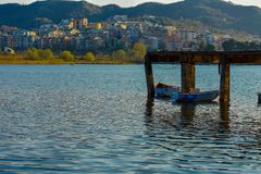 Sunset at the artificial lake of tirana stock images