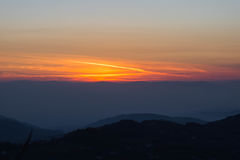 Sunset as seen from Acropolis of Civitavecchia di Arpino, Italy Royalty Free Stock Image