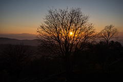 Sunset as seen from Acropolis of Civitavecchia di Arpino, Italy Stock Photos