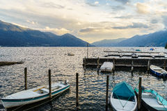Sunset in Ascona, Switzerland. Description: Ascona on Lake Maggiore in the canton of Ticino, Switzerland. Photo taken on: April 08th, 2014 royalty free stock images