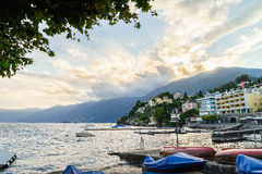 Sunset in Ascona, Switzerland Royalty Free Stock Photography