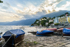 Sunset in Ascona, Switzerland Stock Photo