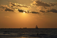 Sunset on Ashdod beach. Royalty Free Stock Images