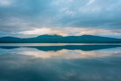 Sunset at Ashokan Reservoir, in the Catskill Mountains, New York.  royalty free stock photo