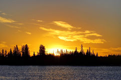 Sunset at Astotin Lake, Elk Island National Park Stock Image