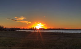 Sunset at Astotin Lake, Elk Island National Park Royalty Free Stock Photo